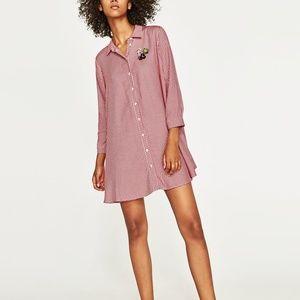 Zara GINGHAM MINI DRESS-3198/241-jeweled applique